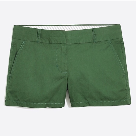 "J. Crew Factory Pants - J. Crew Green 3"" Cotton Chino Shorts Size 6"